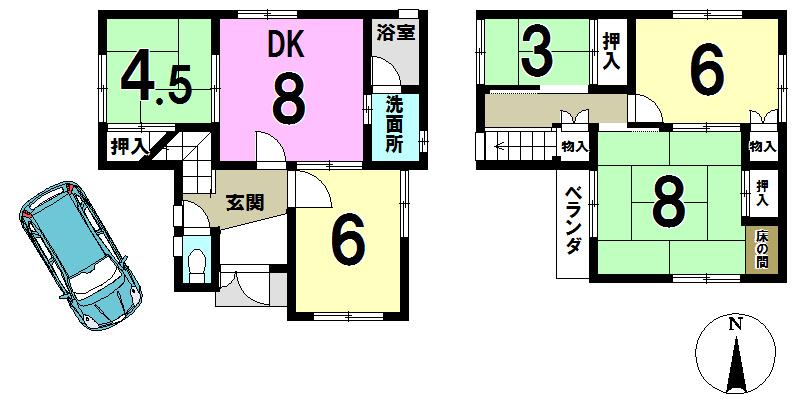 【間取り】 3帖の和室は大容量収納にするも良し、勉強部屋にするも良し!