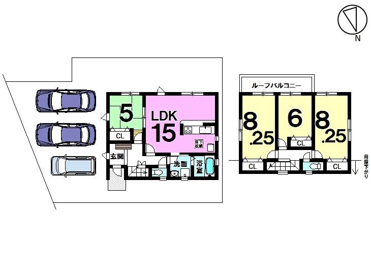 飛香台全2区画 1号棟 土地面積 52.16坪 建物面積 30.06坪