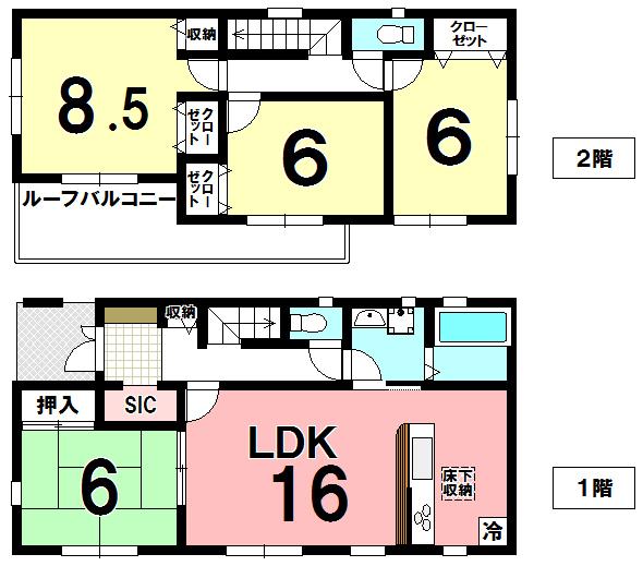 【間取り】 久喜市佐間 新築戸建です。カースペース3台可能、ベイシアまで徒歩7分です。