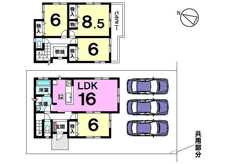 【間取り】 3号棟 4LDK 駐車スペース 3台分