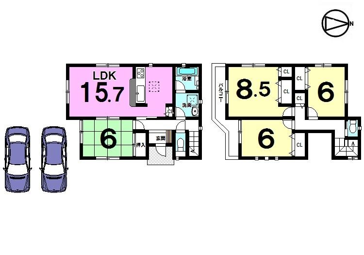 【間取り】 南向きバルコニー、全室6帖以上のゆとりある間取りです。 並列で駐車2台可能! 分譲地内ですので車通りも少なく、静かな環境です。