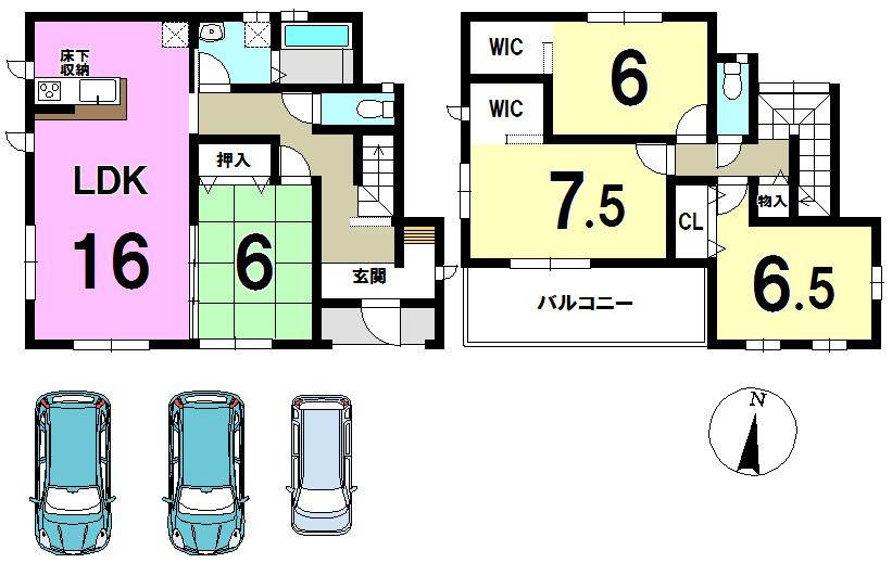 【間取り】 全居室収納あり♪3台駐車可能!