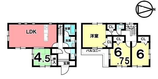 【間取り】 全室2面採光の明るいおうちです。 並列で駐車2台可能。 小中学校まで徒歩10分程度の便利な立地です。