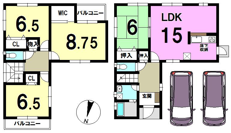 【間取り】 全居室収納あり♪普通車2台駐車可能!