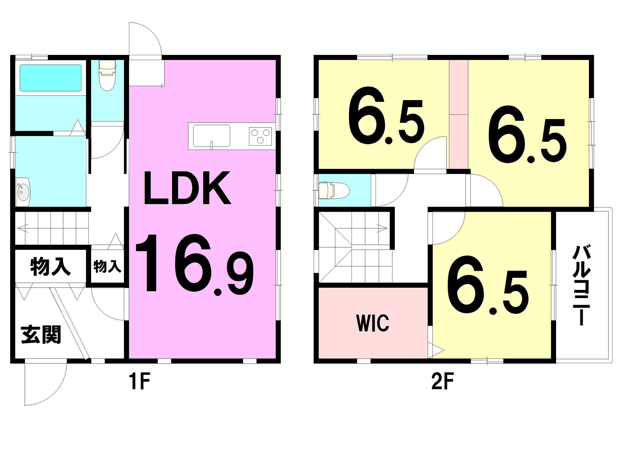 【間取り】 1F:16.9LDK 2F:6.5洋 6.5洋 6.5洋 WIC