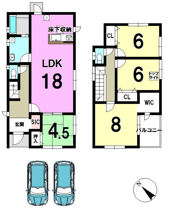 【間取り】 LDKひろびろ18帖!+4.5帖和室が続き間になっています!