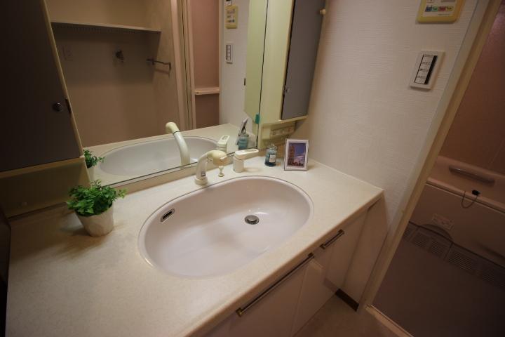 洗面台が広いので朝の忙しい時間にも2人並んで支度ができますね