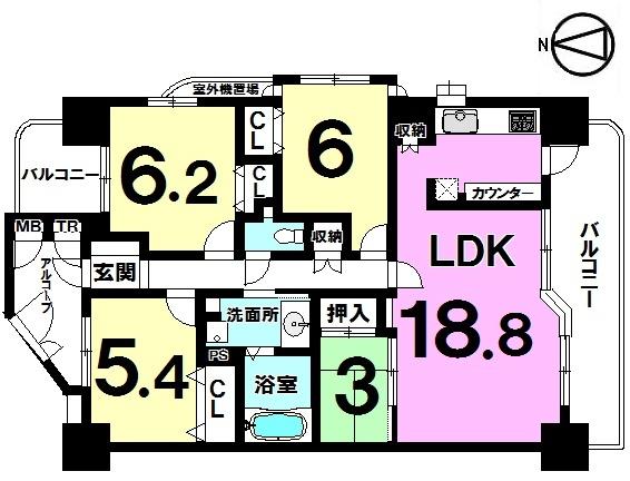 【間取り】 4LDK、専有面積86.03平米、バルコニー面積16.28㎡