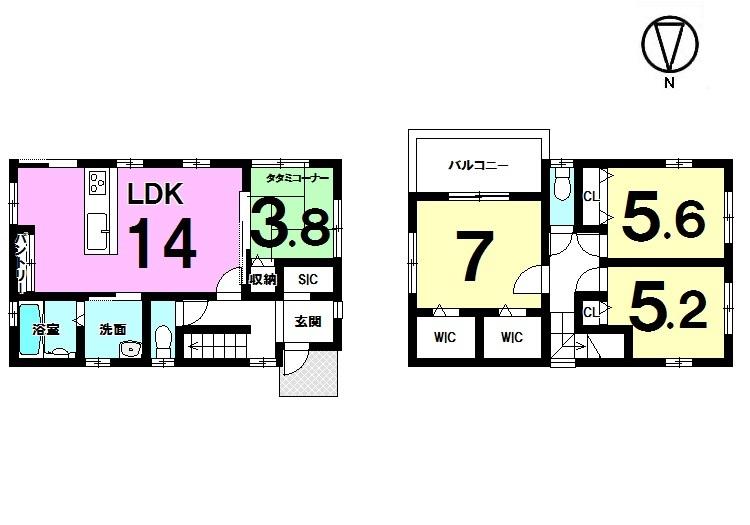 【間取り】 全居室に収納スペースを確保。 駐車2台可能です。
