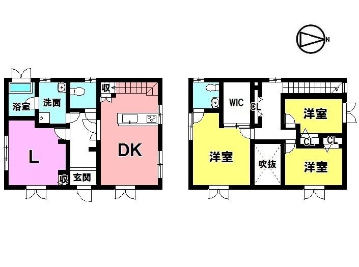 【間取り】 3LDK+WIC 駐車4台可能 オール電化