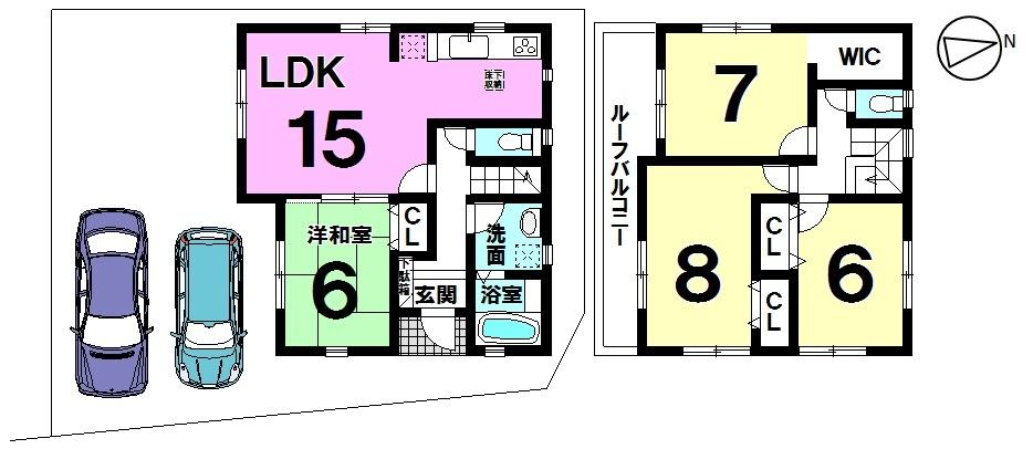 【間取り】 間取り図  4LDK 2580万 横川小学校まで徒歩5分(約350m)