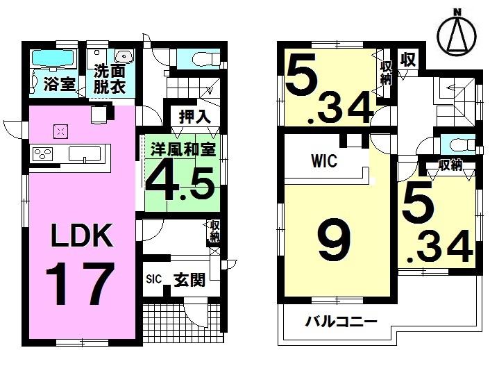 【間取り】 4LDK+SIC+WIC 駐車2台