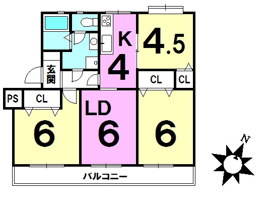 【間取り】 全居室収納有り・フローリングの3LDK。南東向きバルコニーにつき陽当り良好。