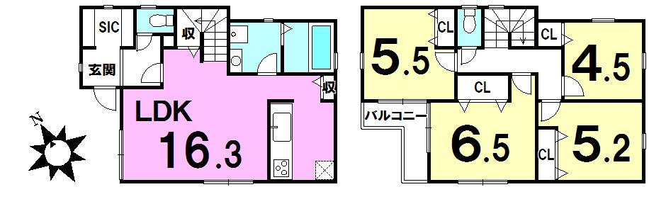 【間取り】 全居室フローリング、収納豊富な間取り設計です。