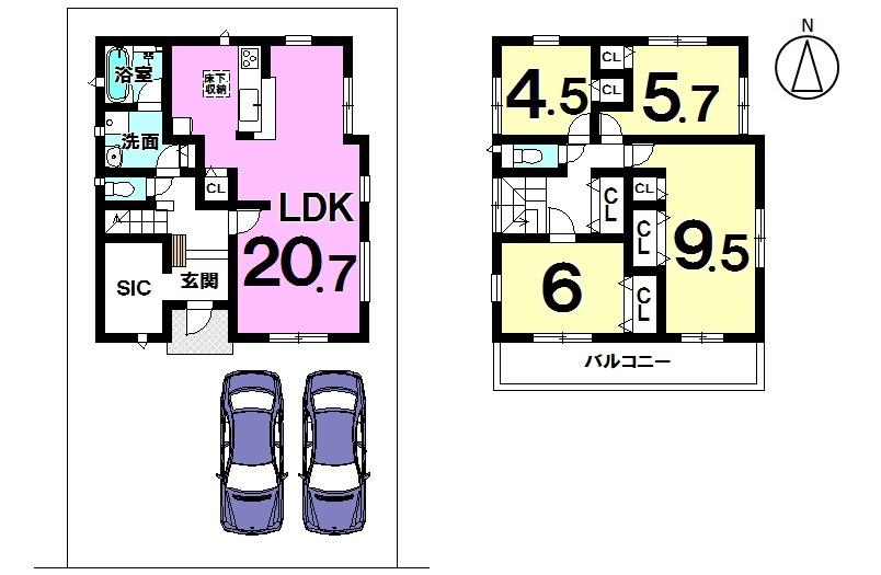 【間取り】  4号棟  4LDK 駐車スペース  2台分