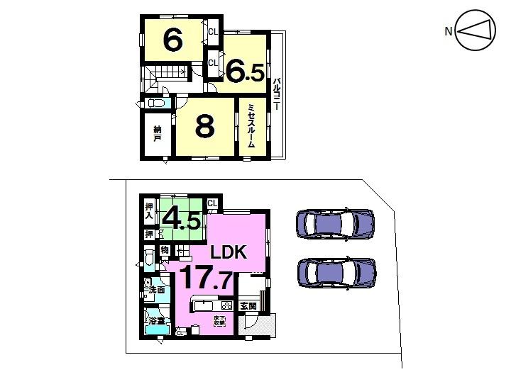 【間取り】   6号棟    4LDK 駐車スペース  2台分
