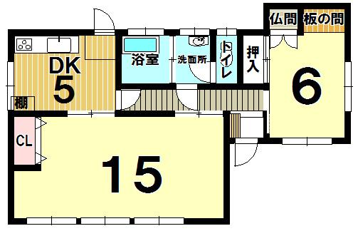 【間取り】 3DKを2DKに変更しました◆小倉南区湯川新町4丁目◆中古戸建◆システムキッチン・食器洗乾燥機付・カーポート有♪住みやすい平家建です♪湯川中学校まで徒歩約3分。