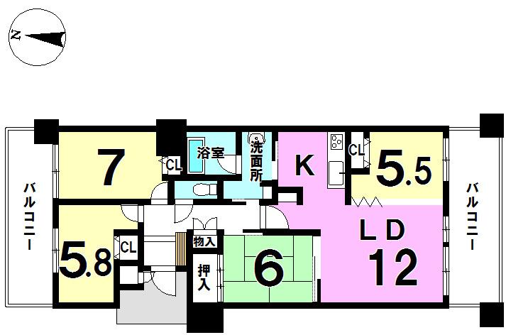 【間取り】 ■4LDK、専有面積約85.67㎡◎ ■両面バルコニー有◎