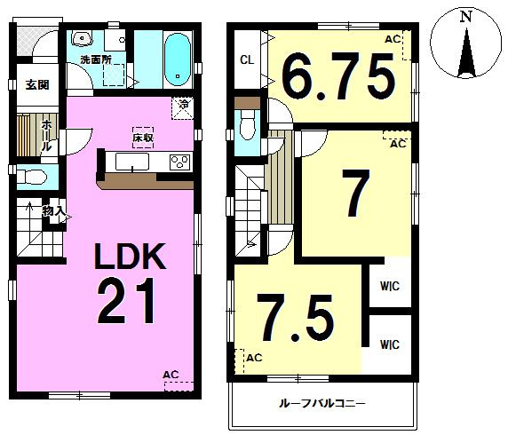 【間取り】 1号棟◆3LDK+2WIC