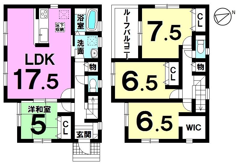 【間取り】 間取り図 4LDK ゆったりとした広々LDK 2290万円