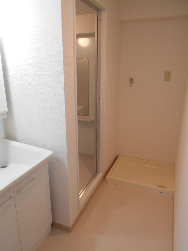 浴室のすぐ前に洗濯機を設置できます。 お風呂のお湯を利用される方には嬉しい配置ですね。