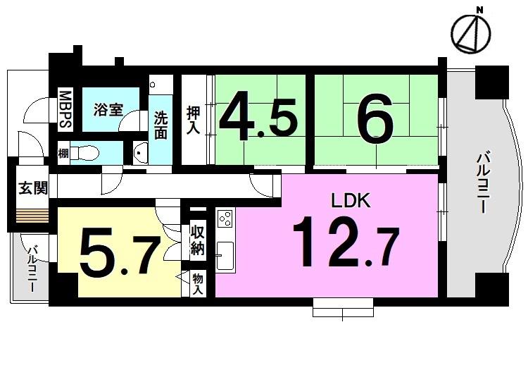 【間取り】 平成28年9月にキッチン・浴室・洗面化粧台・トイレを新調! 全室クロス・床貼替済です。 7階部分、角部屋。分譲車庫付き! お好きな日に内覧可能です。