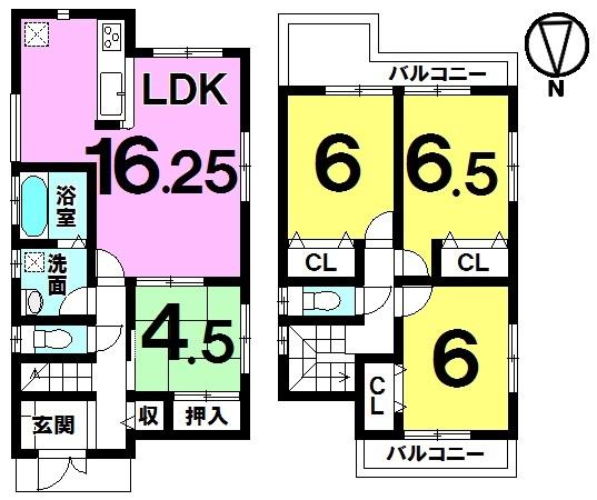 【間取り】 間取り図 1号棟 4LDK 2380万円 耐震構造
