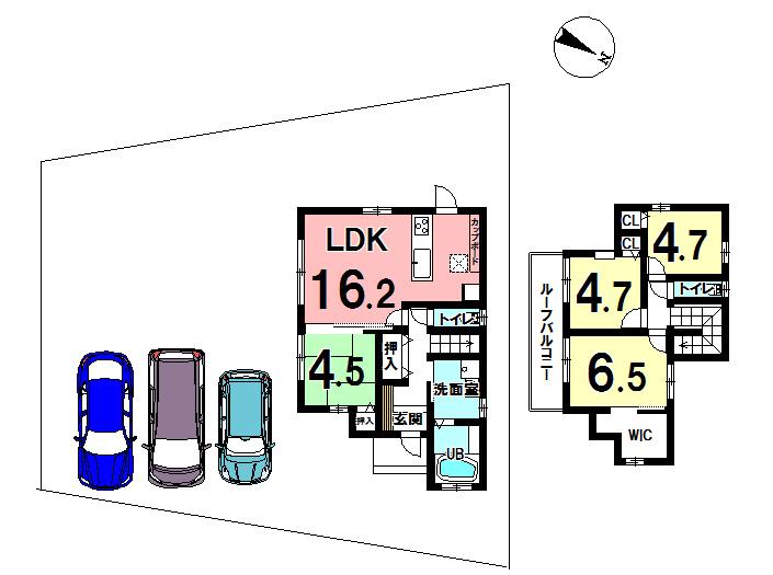 【間取り】 土地の地形を生かした造りになっています。 駐車場が3台分あるのはうれしいですね。