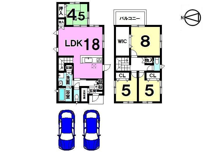 【間取り】 18帖のLDKと和室を合わせて22.5帖の大きなお部屋になりました。 並列で駐車2台可能。 周辺は車通りが少なく静かな環境です。