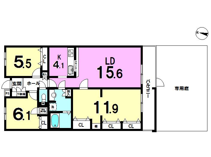 【間取り】 45.89㎡(13.9坪)の専用庭、11.9帖の洋室あり