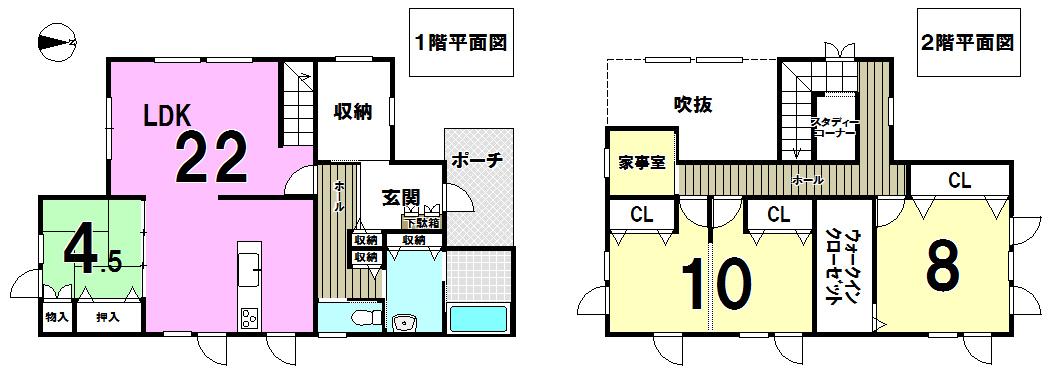 【間取り】 千歳市みどり台北の中古戸建です。22帖のLDK、4.5帖のデザイン性の高い和室、2階の10帖の子供部屋は間仕切りを入れて2部屋に分割することも可能です。