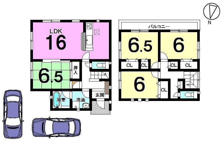 【間取り】 全室6帖以上のゆとりある間取り。 駐車2台可能です。 幼稚園・小中学校まで全て徒歩10分以内。 通学が大変便利な立地です。