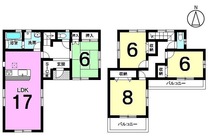 【間取り】 17帖の南向きLDKは是非ご覧頂きたいポイント! 和室が独立した間取りですので、寝室としても静かにご利用頂けます。 全室6帖以上、駐車2台可能! お好きな日に内覧できます。