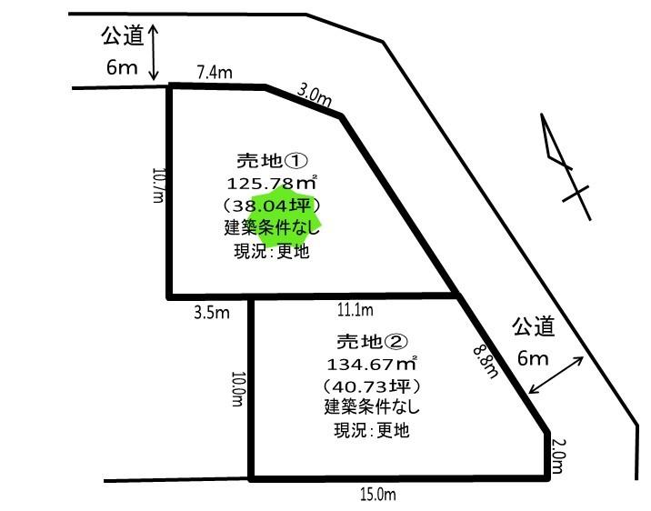 【区画図】 久喜市青葉3丁目、2区画の分譲地です。