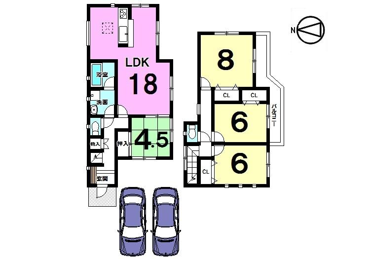 【間取り】 全室南向き! LDKは18帖あり、大勢のお客様がいらしても安心の広さです。