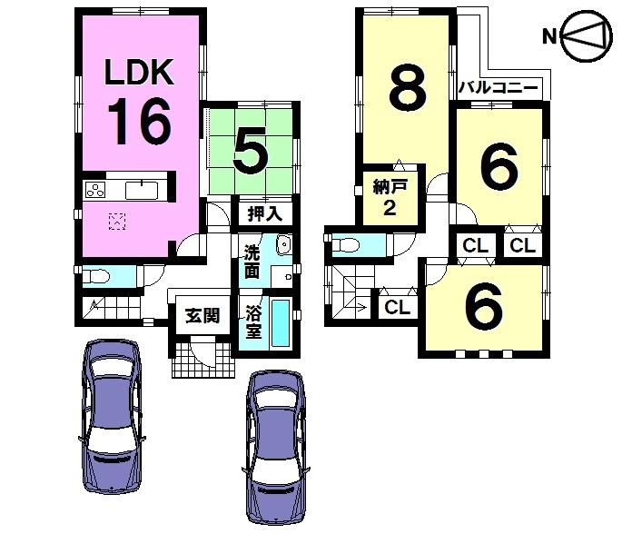 【間取り】 収納スペースを豊富に確保しました。 並列で駐車2台可能です。