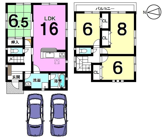 【間取り】 全居室6帖以上、2室から出入りできる 南向きバルコニーが自慢のおうちです。 並列で2台分の駐車スペースを確保しました。