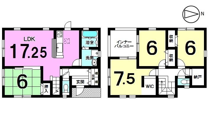 【間取り】 土地面積51.59坪、全居室 6帖以上のゆとりある間取りです。 モデルルームもございますので お気軽にお問合せ下さい。
