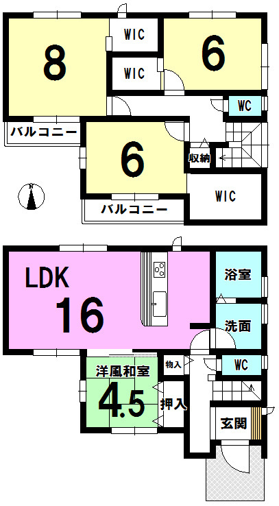 【間取り】 全居室、窓、収納あり。 大容量WICでしっかりお片づけができます。
