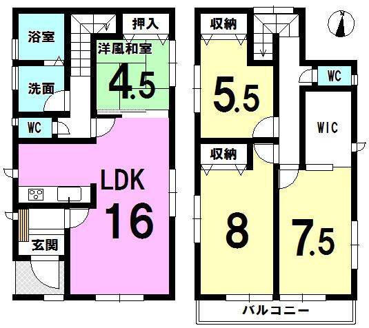 【間取り】 大容量WICあり。全居室、窓、収納あり。