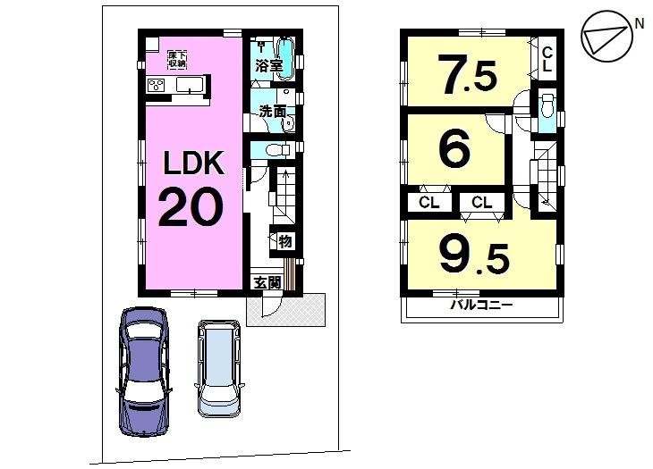 【間取り】  1 号棟    3LDK 駐車スペース 2台分