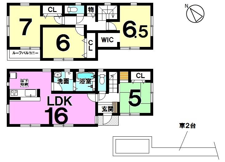 【間取り】   3号棟 4LDK 駐車スペース  2台分