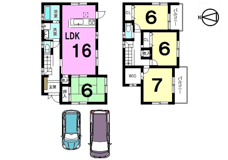 【間取り】 全室南向き、6帖以上の広さを確保しました。 南向きのバルコニーを2室に設置。 ローンのご相談もお気軽にどうぞ。