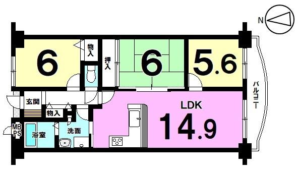 【間取り】 最上階・南向きバルコニーのお部屋です。 お家賃並みの支払いで購入可能! 是非現地をご覧ください。