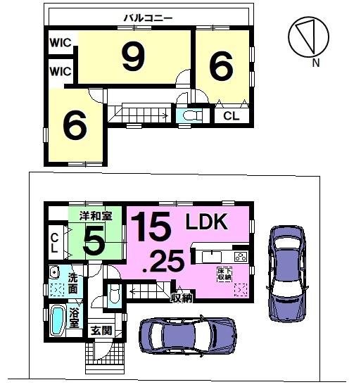 【間取り】 間取り図 4LDK 2350万円 趣のある街に佇む新築戸建