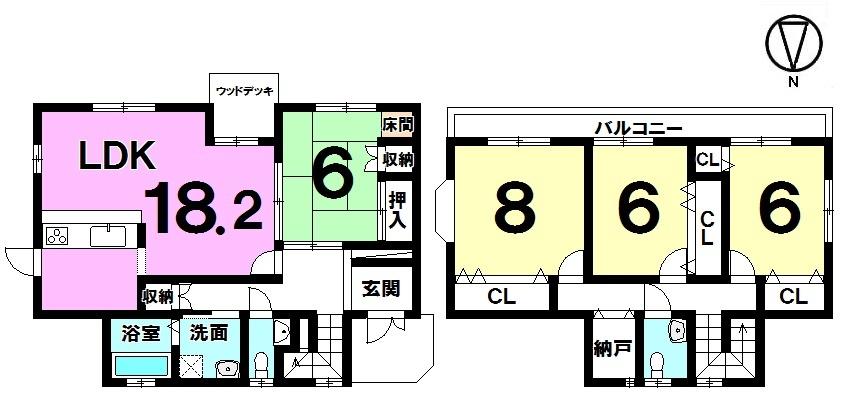 【間取り】 間取り図 4LDK 2798万円 水と緑あふれる閑静な住宅街エリア