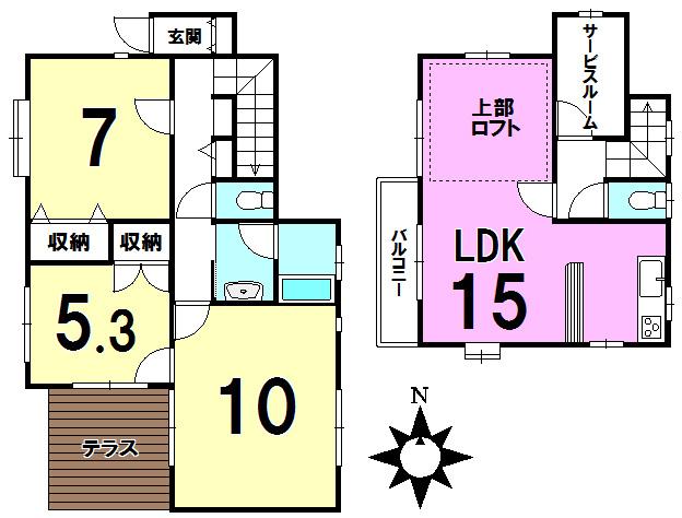 【間取り】 2階がリビングの為、明るい室内です。