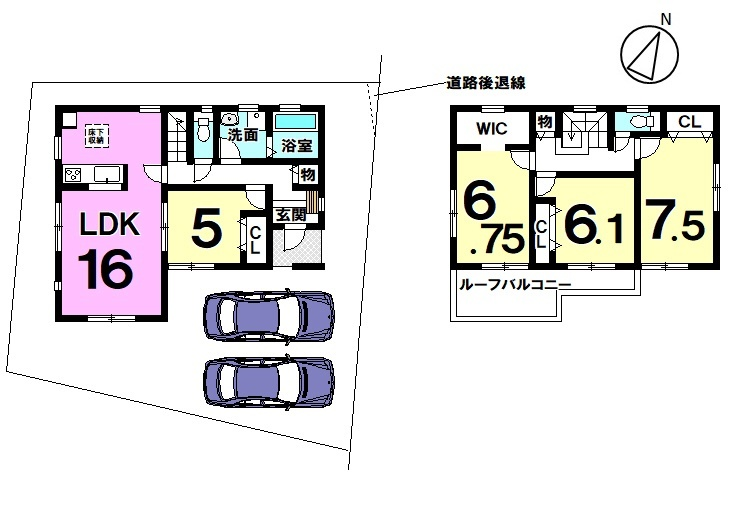 【間取り】 全居室南向き4LDK♪ 全居室南向きで採光が取れます。