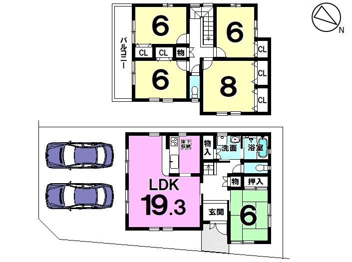 【間取り】 ●錦町 中古住宅●  人気の角地です♪ 駐車スペースは2台