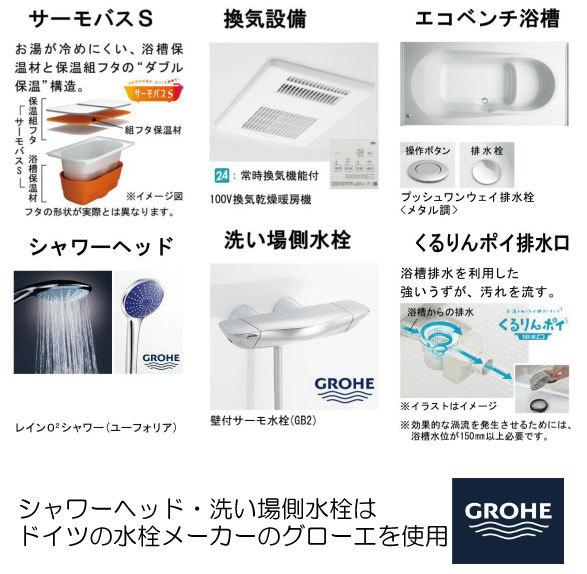 シャワーヘッドと洗い場側水栓はドイツの水栓メーカーのグローエを使用